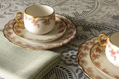Vintage china teacups, saucer and sandwich plate